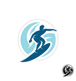 Surf logo with man silhouette board and sea waves vector image