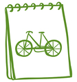 A green notebook with a drawing of a bike vector image vector image