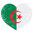 Algeria retro heart shaped flag vector image