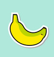banana sticker on blue background colorful fruit vector image