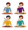 beautiful girl eats a delicious meal vector image vector image