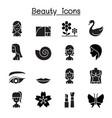 beauty icon set flat style vector image