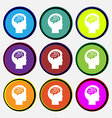 Brain icon sign Nine multi colored round buttons vector image vector image