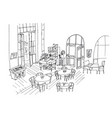 cafe interior hand drawn linear vector image