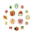 christmas comics icons set vector image