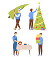 christmas preparation men with pine tree vector image vector image