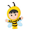 cute baby wearing a bee suit vector image vector image