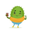cute cactus with cup of coffee in its hand funny vector image vector image