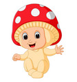 cute kids cartoon wearing mushroom costume vector image