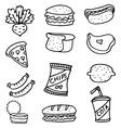 Doodle set food element collection vector image