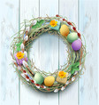 easter wreath decoration branch of willow and vector image