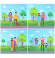 family in park set of people vector image vector image