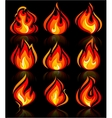 Fire flames new set with reflection on a vector image vector image