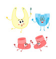 funny baby booties diaper bib characters infant vector image vector image