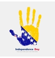 Handprint with the Flag of Bosnia and Herzegovina vector image vector image