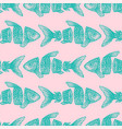 hipster sliced fish seamless pattern vector image vector image