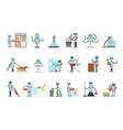housekeeping household robot doing home cleanup vector image vector image