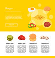 isometric burger ingredients web template banner vector image vector image