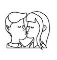 line cute couple kissing a romantic scene vector image