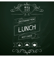 Lunch on the restaurant menu chalkboard vector image vector image