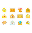 mail icon set cartoon style vector image