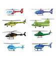military police and medical helicopters icon set vector image vector image
