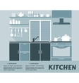 Modular kitchen interior in flat design vector image vector image