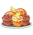 muffins with berries chocolate and lemon slices vector image vector image