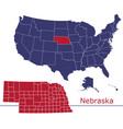 nebraska map counties with usa map vector image vector image