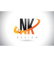 nk n k letter logo with fire flames design and vector image