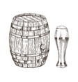 oak container and glass of frothy ale graphic art vector image vector image
