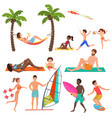 people on active sport vacation beach collection vector image