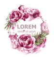 pink peony flowers watercolor banner vector image vector image