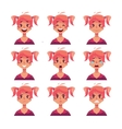 Red-haired girl with ponytails face expression vector image vector image