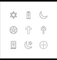 religion outline icons set vector image