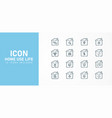 set flat line icons for home applications such vector image