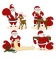 set of santa clauses ready for christmas vector image vector image