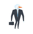 snowman businessman winter boss snow manager vector image