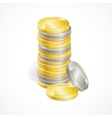 stacks of golden and silver coins vector image vector image