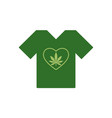 t-shirt with heart symbol and cannabis leaf vector image vector image