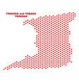 trinidad island map - mosaic of lovely hearts vector image vector image