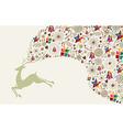 Vintage Christmas reindeer jumping vector image vector image
