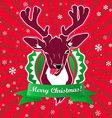 winking and show its tongue deer with christmas vector image