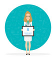 young female doctor with blue ribbon prostate vector image vector image