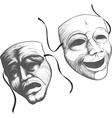 two theatre masks vector image