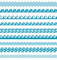 Seamless wave line pattern borders set vector image