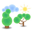 textured trees cloud and sun optimistic spring vector image
