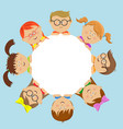 cute kids friends around the white circle vector image