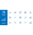 15 graph icons vector image vector image