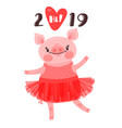 2019 happy new year card design symbol of the vector image